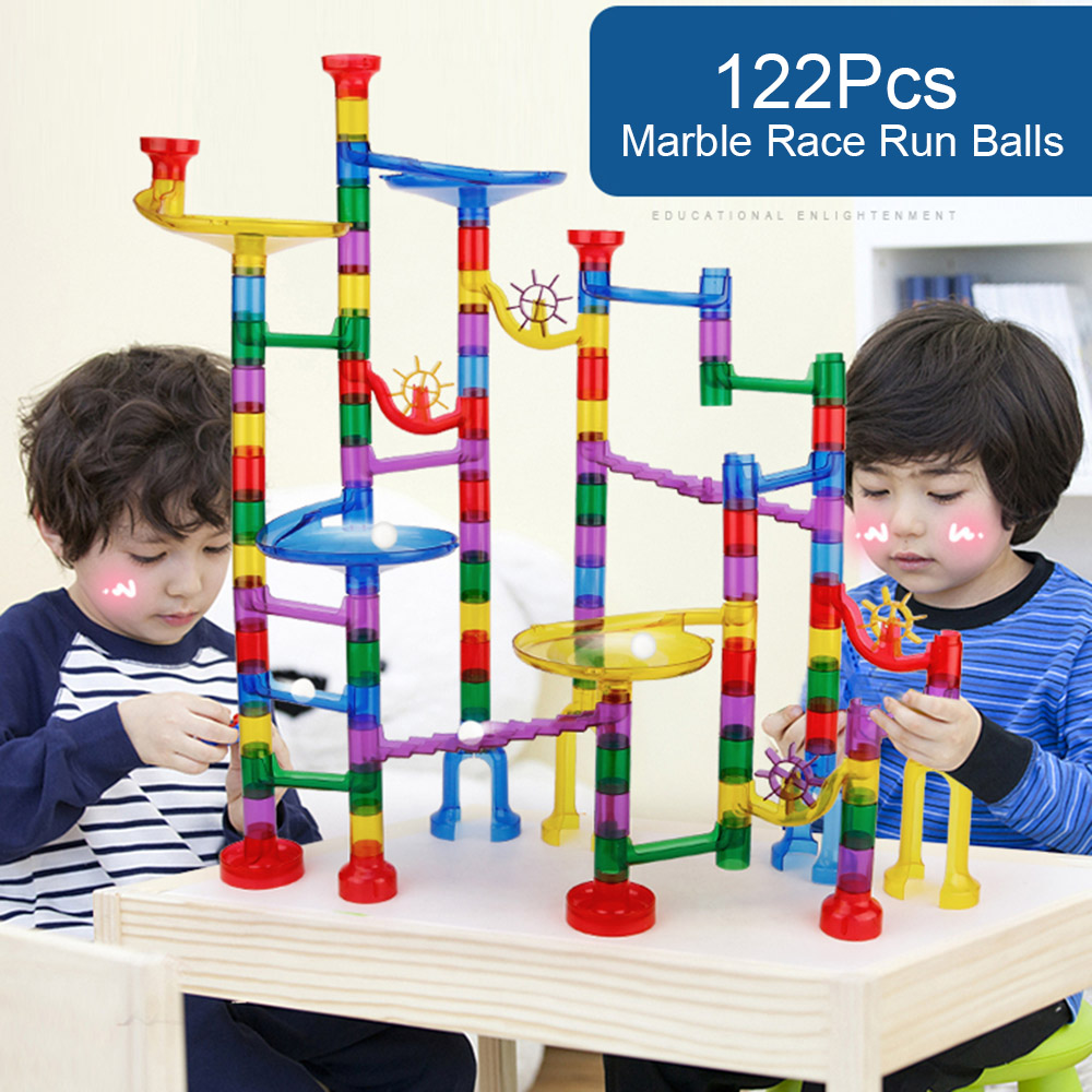 122 pièces bricolage Construction marbre course jouet marbre jeu labyrinthe balles Pipeline jouets éducatifs Construction blocs de Construction jouet pour enfant