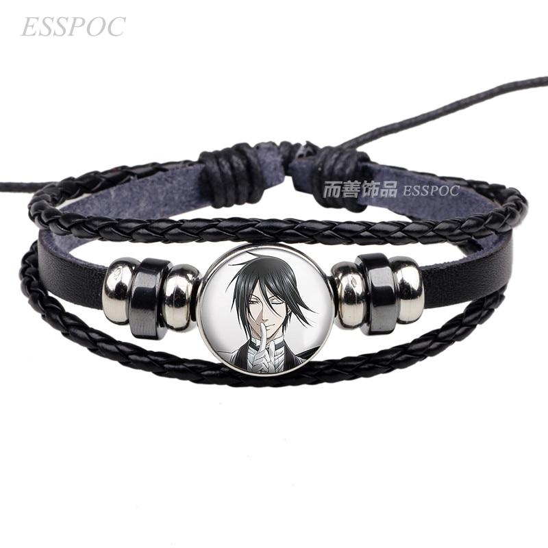 Anime Black Butler Cosplay Bracelet Black Leather Bracelet Kuroshitsuji Ciel Phantomhive Sebastian Grell Madame Cosplay Gift