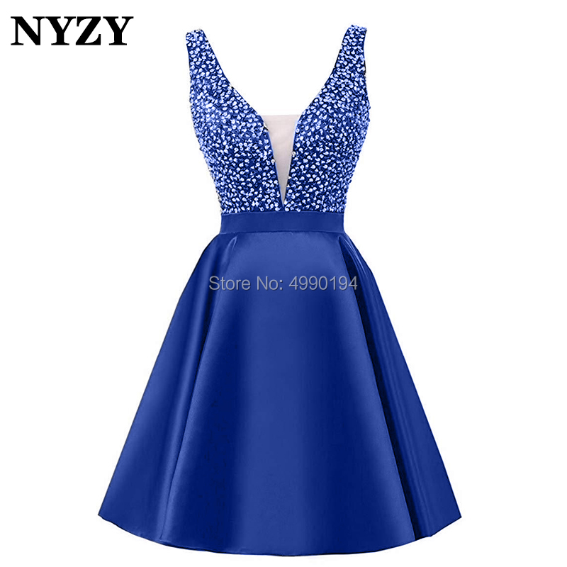 NYZY P52 Sexy Deep V Neck Backless Royal Blue   Prom     Dress   Short Crystal Cocktail   Dress   Party 2019 vestidos coctel