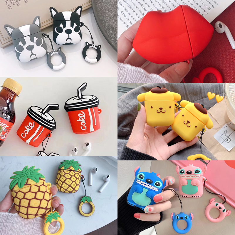 With Finger Ring Strap For AirPods Case Cute Cartoon Pattern Cover Bluetooth Earphone Cases For Airpods Accessories Charging Box