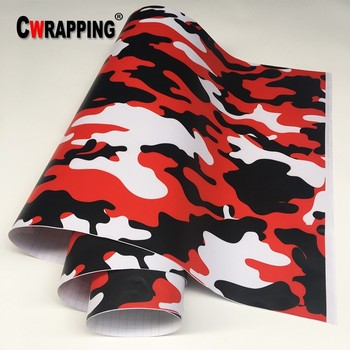 Red Black White Camo Camouflage Vinyl Car Wrap Sticker Film Foil Decal For Bike Console Computer Laptop Skin Scooter Motorcycle image