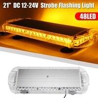 Audew 12V 24V Universal 21 48LED Car Warning Emergency Flashing Strobe Light Bar Amber Beacon Car Light Assembly