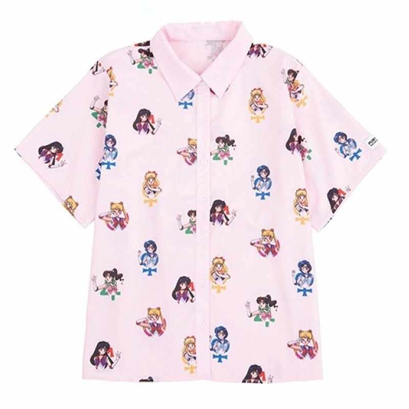 Харадзюку аниме Сейлор Мун печати свободные с длинным рукавом рубашки для женщин негабаритных Плюс блузки Мода Уличная Повседневная Kawaii Camisa