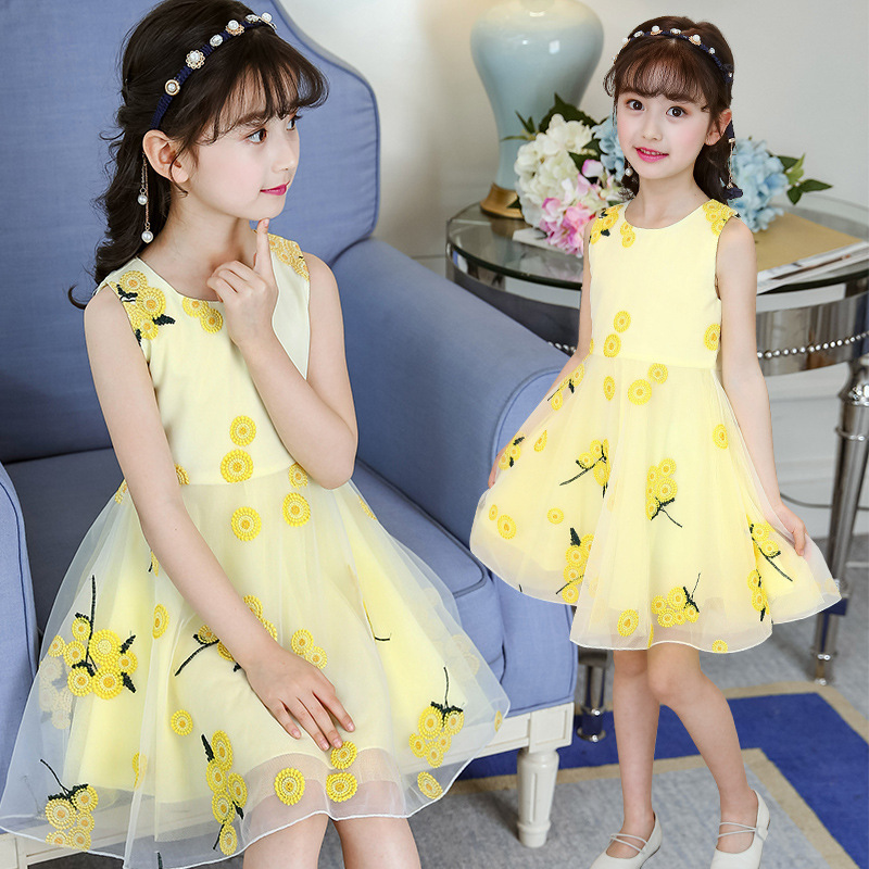 2019 summer style   flower     girls     dress   children teenagers princess clothes fashion children party clothes sleeveless   dresses