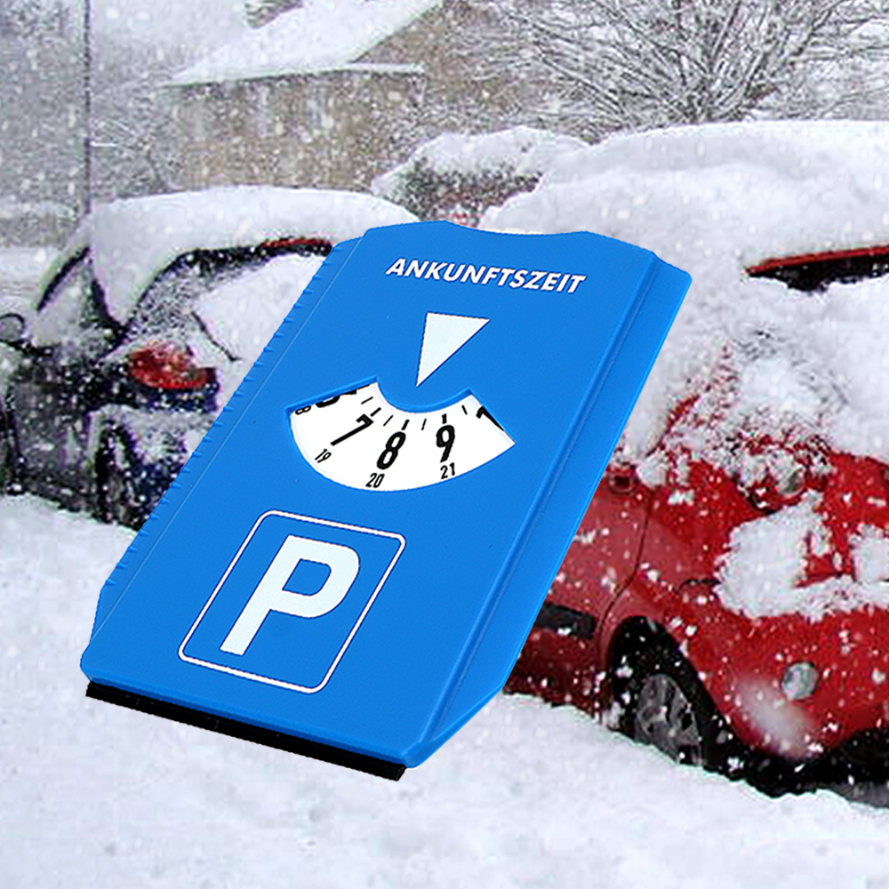 LEEPEE Snow Remover Car Windshield Snow Shovel Return Time Note Car Parking Time Sign Ice Scraper Time Display Disc image