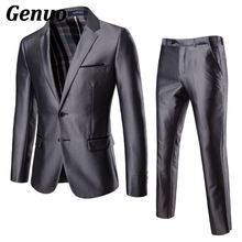 Genuo Formal Blazer Suits and Pant 2 Pieces Suit Men Wedding Suits 2018 Jacket Coat and Pants For Party Wear Two Piece Set Cloth недорого