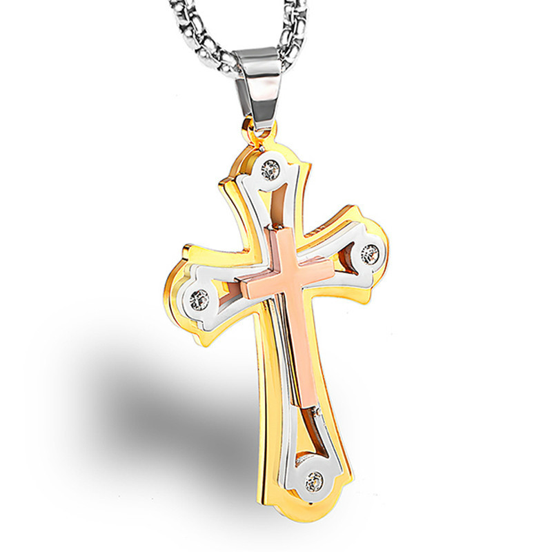 Angel Stainless Steel Multilayer Cross Religious Jewelry Prayer Necklace Pendant Charms For Men Women With 24 Inch Link Chain in Pendants from Jewelry Accessories