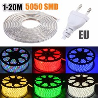 15M LED Strip With EU Plug IP67 Waterproof SMD 5050 AC220V led strip flexible light 60leds/m Indoor Outdoor Led Strip