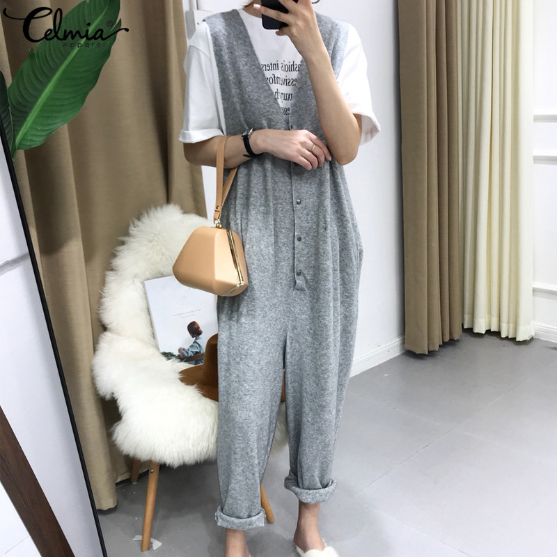 Celmia Plus Size Women Knitted   Jumpsuits   Sexy Sleeveless Deep V Neck Rompers Casual Loose Harem Pants Vintage Buttons Overalls