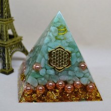 Orgonite Pyramid Natural Aura Tianhe Stone Crystal Energy Decoration Bring Good Luck Handmade Resin Decorative Craft Jewelry natural amethyst stone beads purple quartz crystal chips orgonite pyramid energy healing resin figurine office home decoration