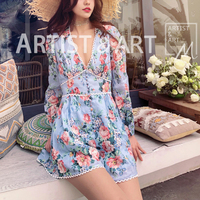 2019 Summer Vacation Style Printed Floral V neck Short Playsuits Sexy Body Rompers Womens Jumpsuits