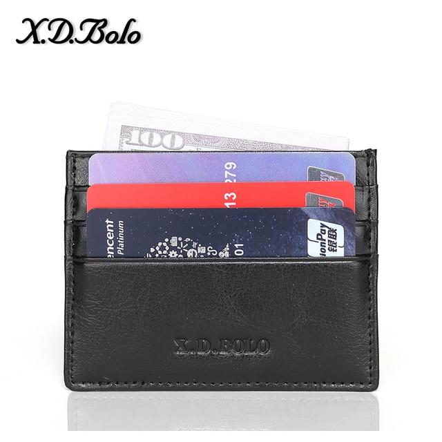 X D BOLO Delgado Cartera de cuero para hombre carteras de tarjeta de crédito Mini Cartera de cuero genuino para hombre con bolsillo de monedas