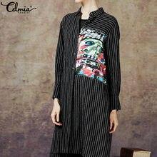 d00ee2625e Celmia las mujeres blusa de rayas camisas largas de la primavera de 2019 de manga  larga Tops Casual asimétrico Blusas vestido Re.