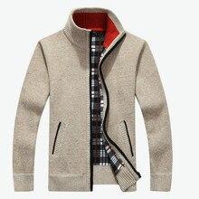 2018 Otoño Invierno hombres cálido cárdigan Sweatercoat Casual suelto cuello  alto lana suéteres abrigo hombre cremallera gruesa . f730e56ad14f