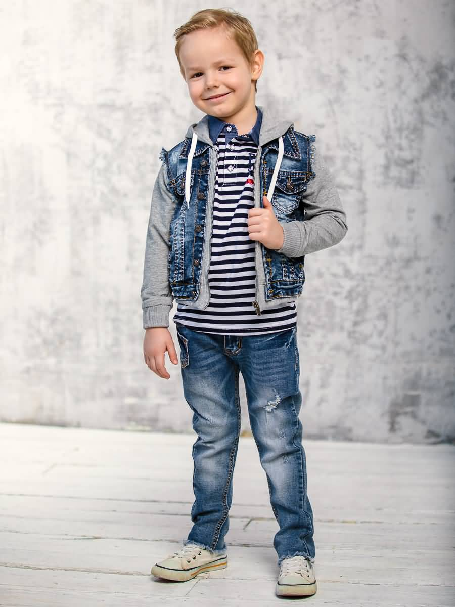 Jacket denim Sweet Berry for boys flap button pocket stripe collar denim jacket