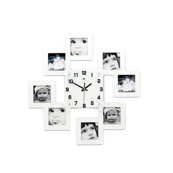 Creative Wooden Wall Clock with 8 Photo Frames Decorative Silent Hanging Clocks without Battery (White)