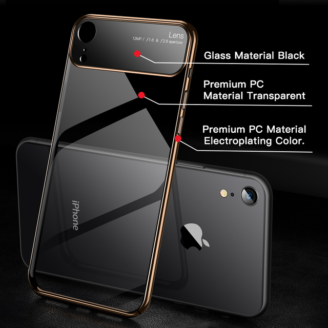 Luxury Lens Glass Case For iPhone XS MAX XR Cases Ultra Thin PC Transparent Back Glass Cover For iPhone X XS 10 7 8 Plus