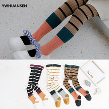 YWHUANSEN 1 to 7 Yrs Double Needle Striped Child Tights Vintage Children's Cotton Tights Baby Clothing Children Pantyhose Pants(China)