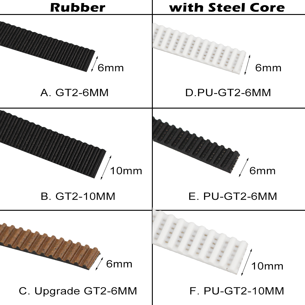 1 Meter Rubber / PU With Steel Core Gt2 Belt GT2 Timing Belt 6mm / 10mm Width For 3d Printer