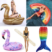 22 Style Giant Flamingo Unicorn Floats Pineapple Swimming Ring Rainbow Inflatable Pool Float Child&Adult Water Toys Air Mattress