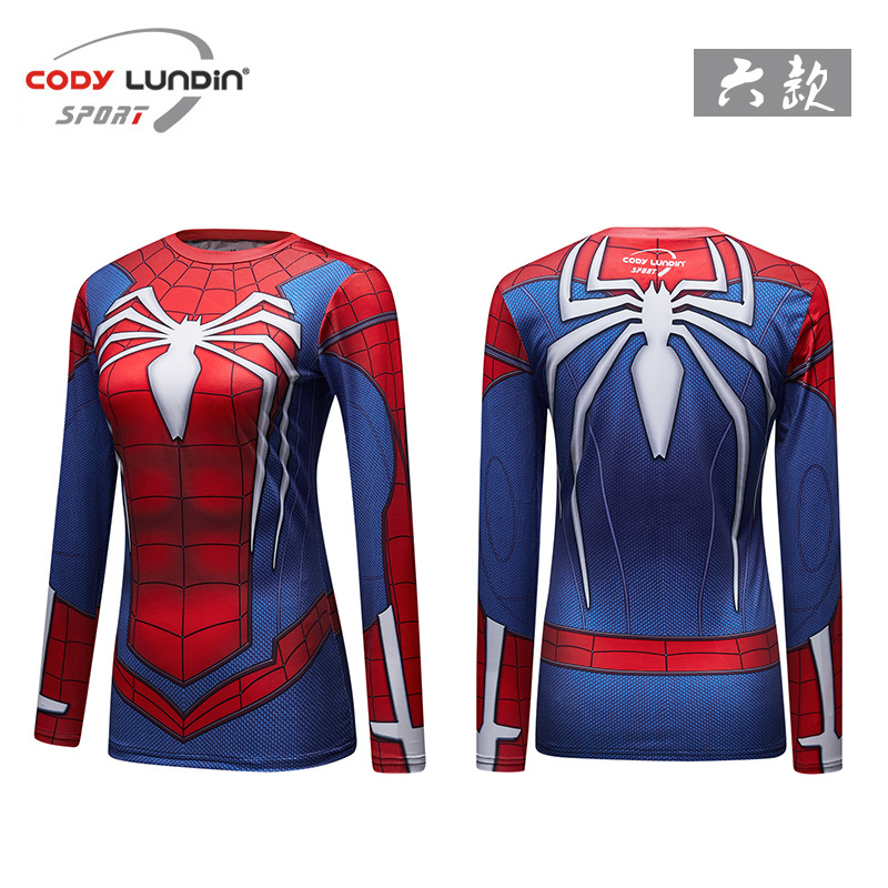 Spiderman Superman  New Style Ms Workout Clothes Compression Long Sleeve Tights Digital Print Custom Manufacturer Direct