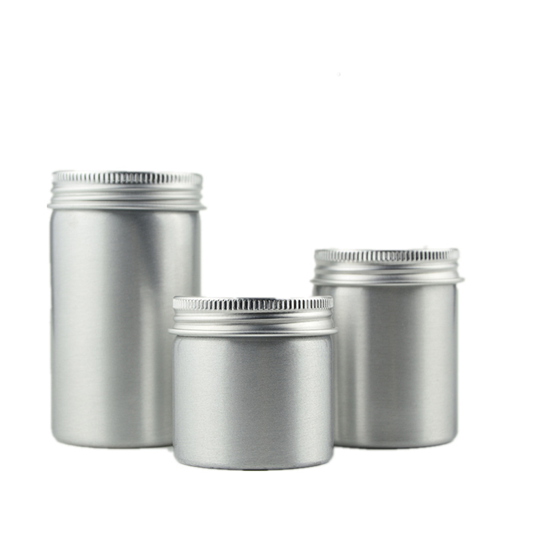 50pcs 50ml 100ml 150ml Salve Aluminum Metal Cyliner Tin Cans Tea Candy Metal Case Ointment Empty Aluminum Tin For Soy Candle