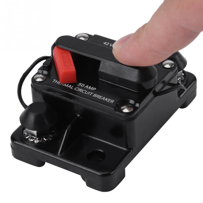50A DC12V-42V 50A-250A Elektronischer Modus Auto-Stereo-Audio-Inline-Leistungsschalter Manueller Reset der anstelle eines Inline-Sicherungshalters verwendet wird