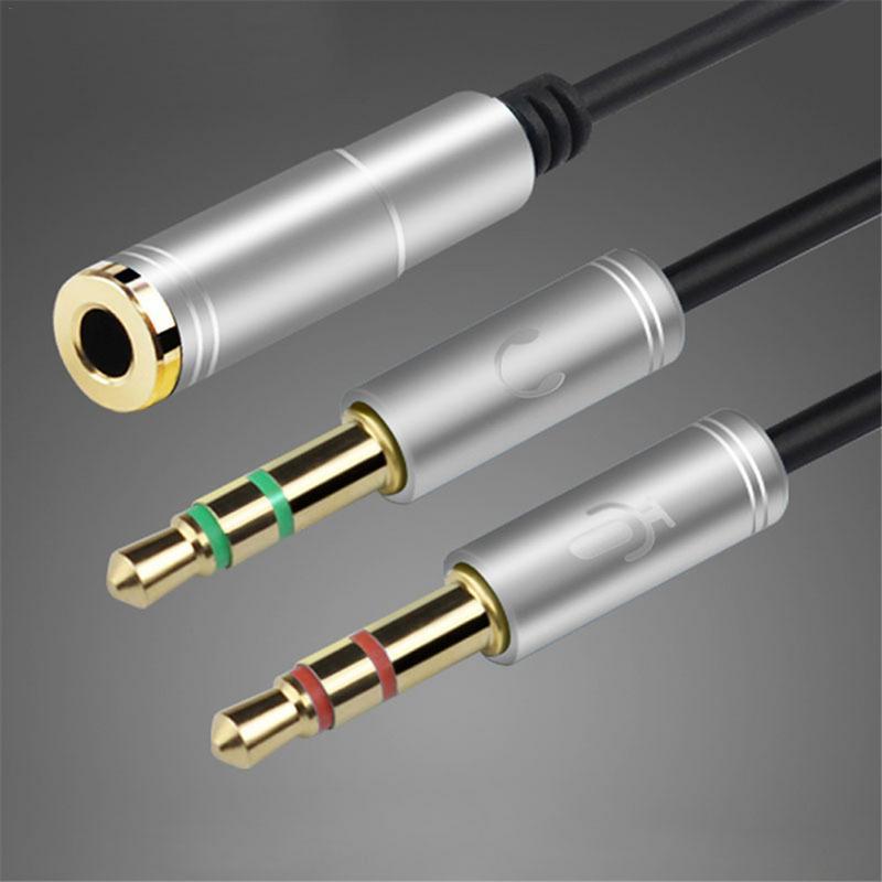 Adaptador de Audio convertidor de Cable de 3,5mm Conversión de auriculares de teléfono micrófono para ordenador Hub 1 para 2 línea de Audio con micrófono # AW