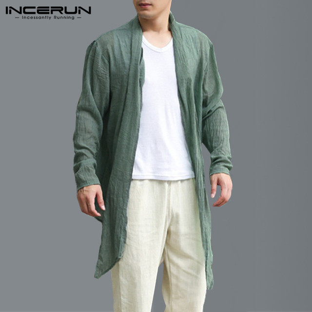 b50bdbf840a Plus Size 5XL Men Trench Coat Long Cardigan Long Sleeve Solid Vintage Thin  Cloak Men Irregular