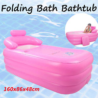 160*86*48cm Pink Large Size Inflatable Bath Bathtub SPA PVC Folding Portable For Adults With Air Pump Household Inflatable Tub