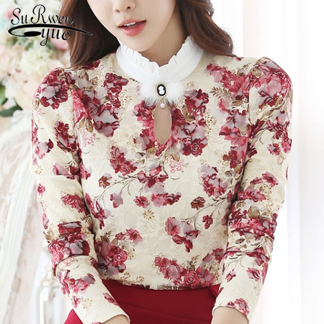 2c2f08891a48dd 2018 Casual Autumn Winter High Collar Crochet Lace Floral Blouses Women  Ladies Tops Lace Women Blouses Long Sleeve Shirt S-3XL