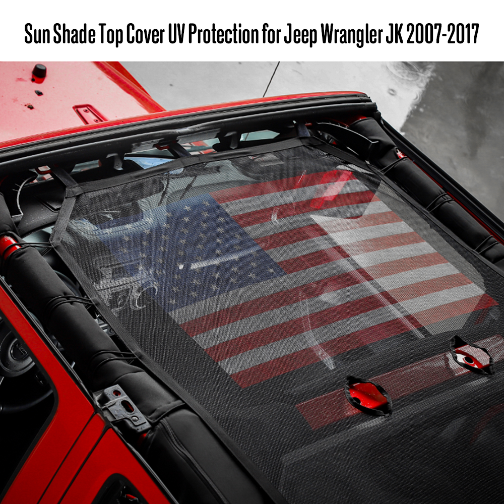 New Sun Shade Top Cover UV Protection for Jeep Wrangler JK 2007 2017 Car Accessories