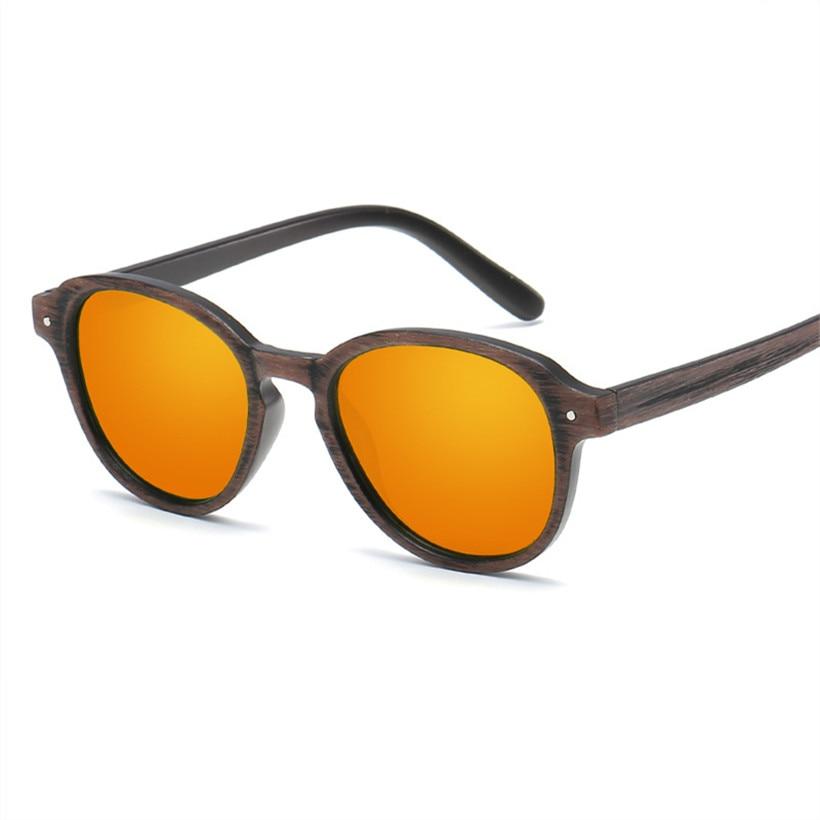 8dea270f75 NYWOOH Vintage hombres gafas de sol espejo revestimiento gafas de sol  hombre Retro grano de madera Marco de gafas UV400