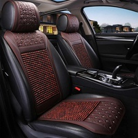 Car Wooden Bead Seat Cushion Summer Cool Leather Car Seat Cover Breathable Handmade Auto Seat Mat Pad Universal Auto Accessories