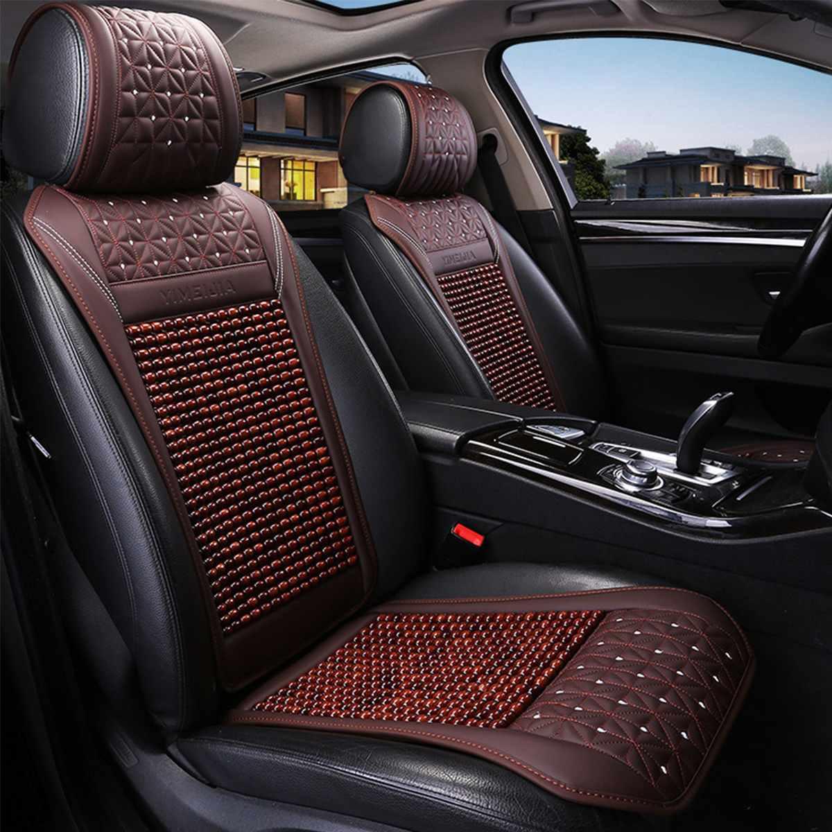 Coussin de siège de voiture en bois perle été Cool housse de siège de voiture en cuir respirant à la main Auto tapis Pad universel Auto accessoires
