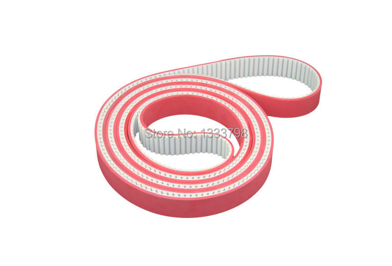 Cheap price PU transmission belt HTD5M embroidery machine timing belt with red rubber coatedCheap price PU transmission belt HTD5M embroidery machine timing belt with red rubber coated