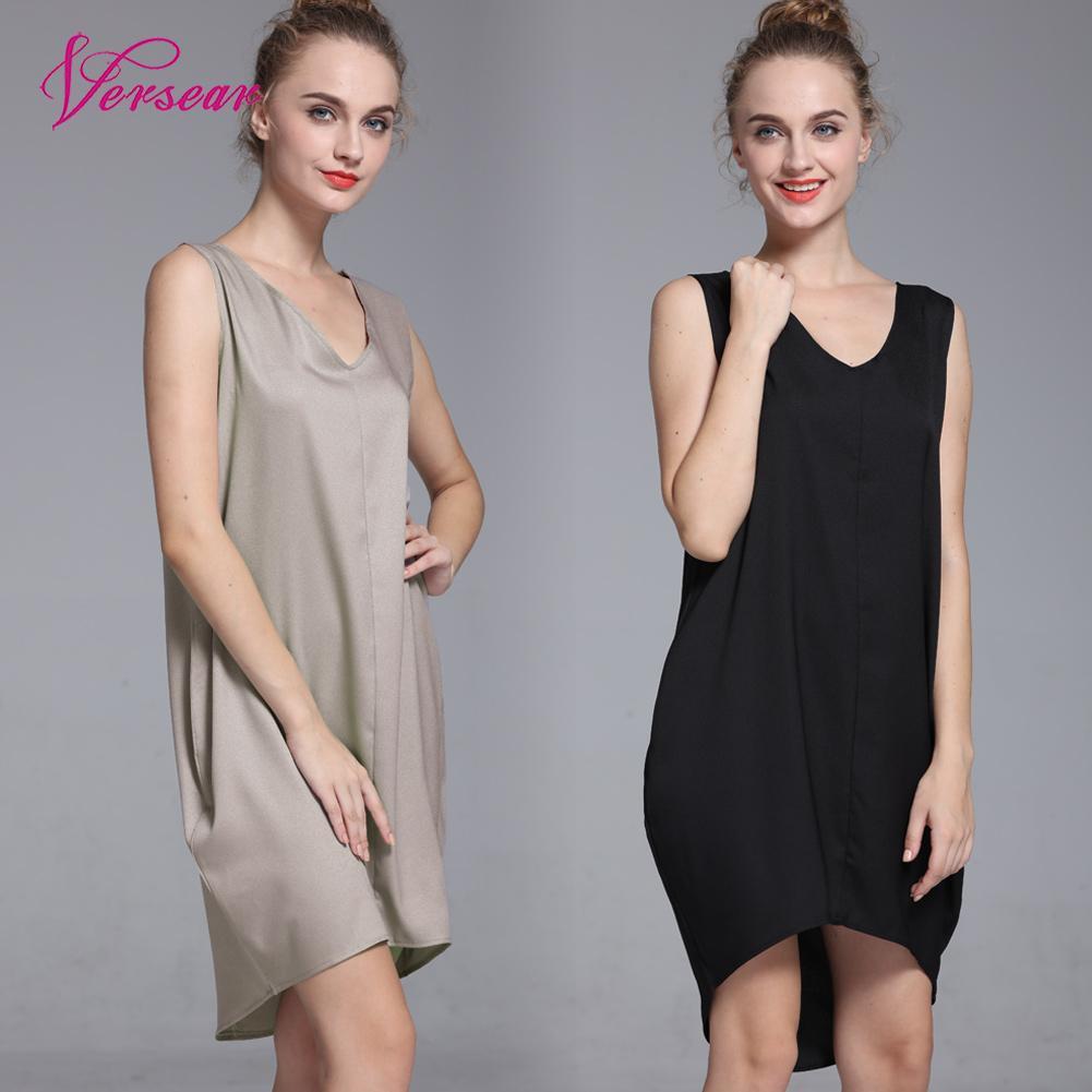 Versear New Fashion Women Tank Mini Dress V Neck High Low Hem Loose Casual  Solid Dress Robe Dresses Vestidos mujer