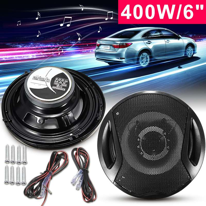 "Audew 1Pair 12V 400W Car Speaker 6"" Car Subwoofer Coaxial Speaker Car Rear/Front Door Audio Music Stereo 2 Way Coxial Speakers"