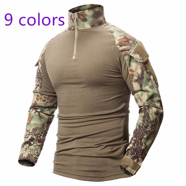 9 Colors Outdoor Fishing Sports T-shirt Men Long Sleeve Hunting Tactical Military Army Shirts Uniform Hiking Breathable Clothing 2