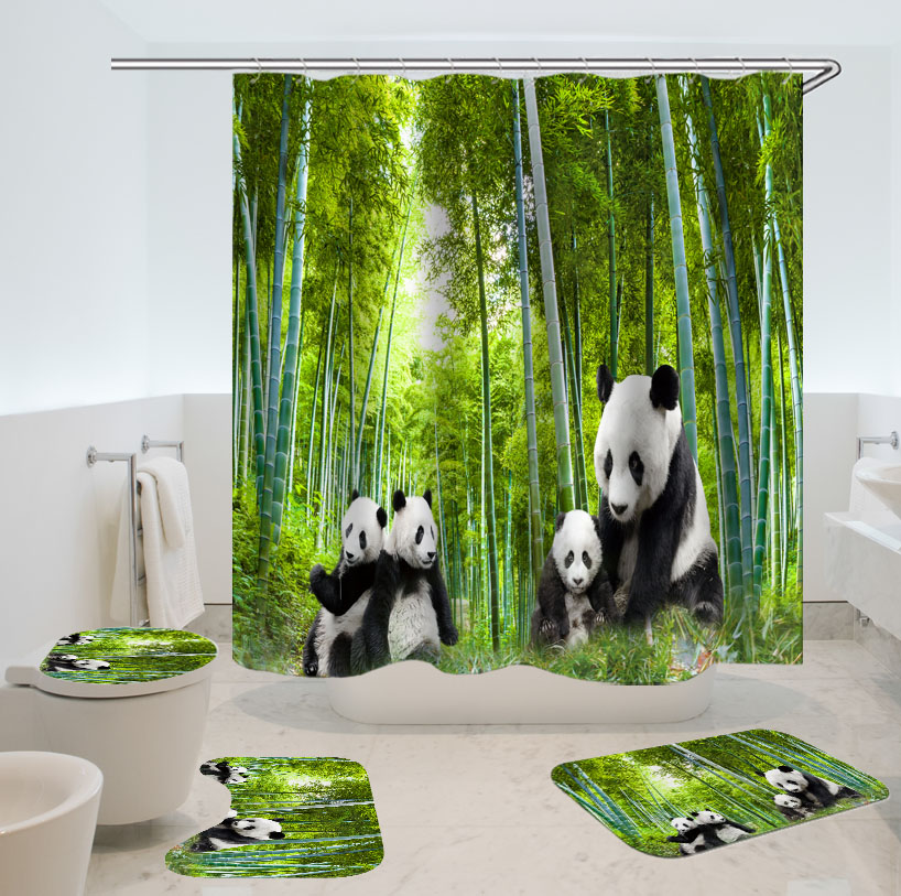 Colorful Lion Bathroom Mat Waterproof Polyester Fabric Shower Curtain 12 Hooks