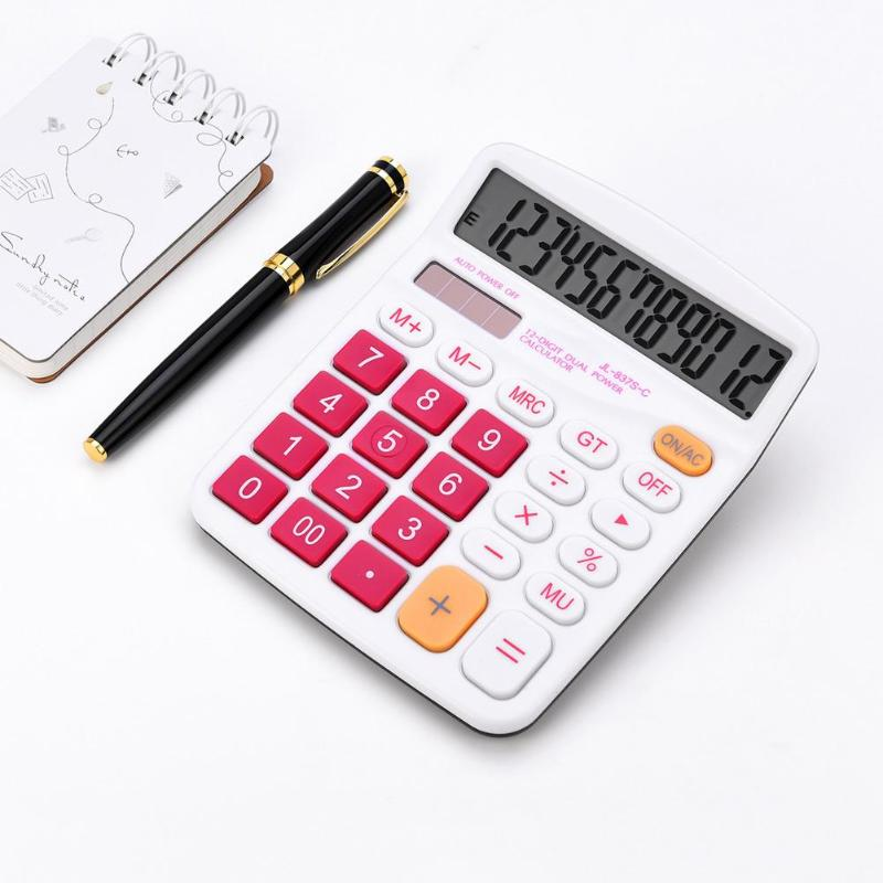Portable Plastic Colorful Solar 12 Digit Large Display Dual Energy Calculator Big Button Office Desktop Supplies 2019 New