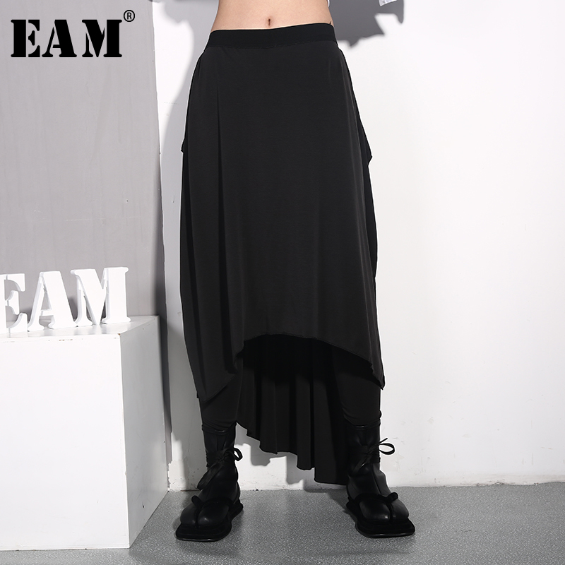 [EAM] 2020 New Spring Autumn High Elastic Waist Black Loose Personality Irregular Stitch Loose Pants Women Trousers Fashion JL93