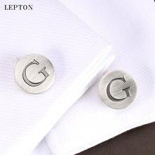 Запонки lepton мужские с буквами алфавита классические посеребренные