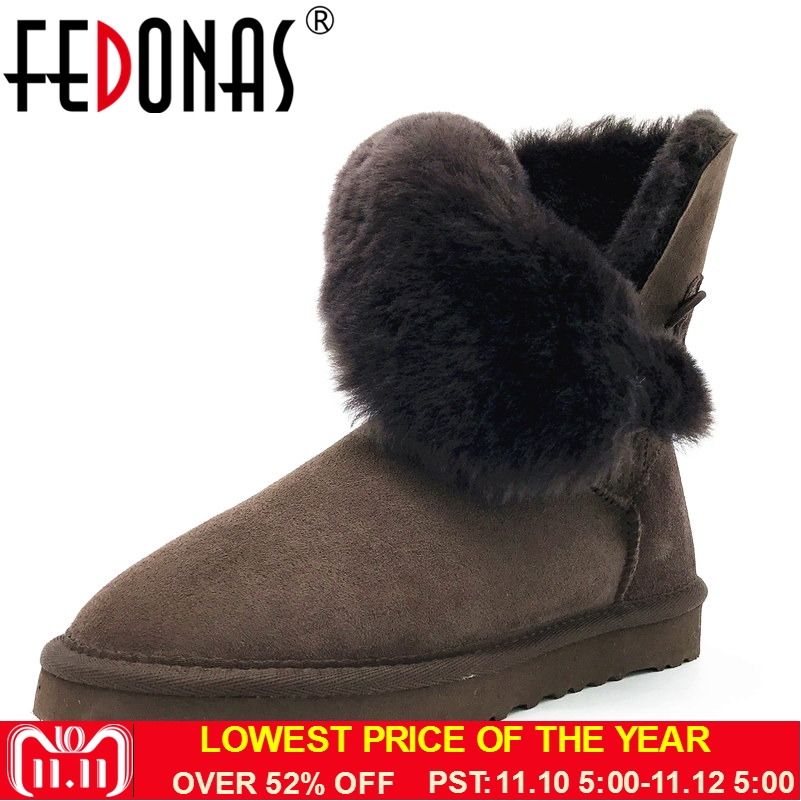 FEDONAS Women Boots 100% Sheepskin Mid-calf Warm Winter Snow Boots Sheep Fur Wool Boots Women Flats Genuine Leather Shoes Woman 2017 free genuine leather motorcycle boots biker shoes women pointed snow boots brand shoe famous designer woman flats