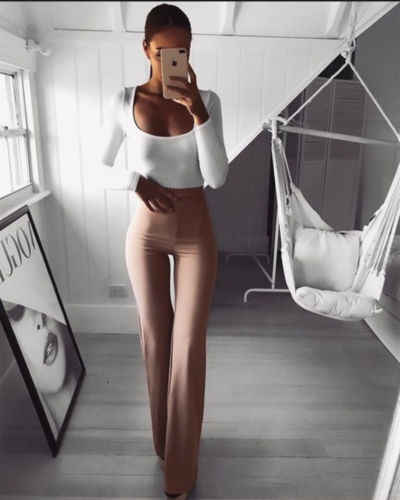 2019 nova casual retro feminino plain palazzo sólido cintura alta alargamento perna larga chic calças fino longo solto ol calças de trabalho mais tamanho