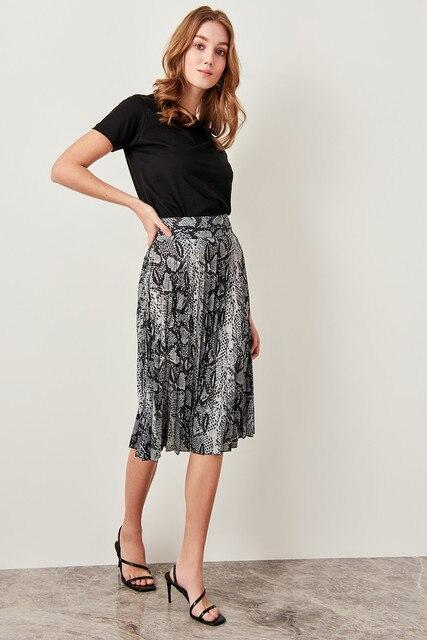 0ce88f82bd Trendyol Black Snake Patterned skirt piliseli TWOSS19SO0013-in ...