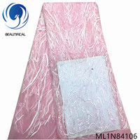 Beautifical french lace fabrics pink bridal net lace with sequins New arrival nigerian tulle lace fabric 5yards ML1N841