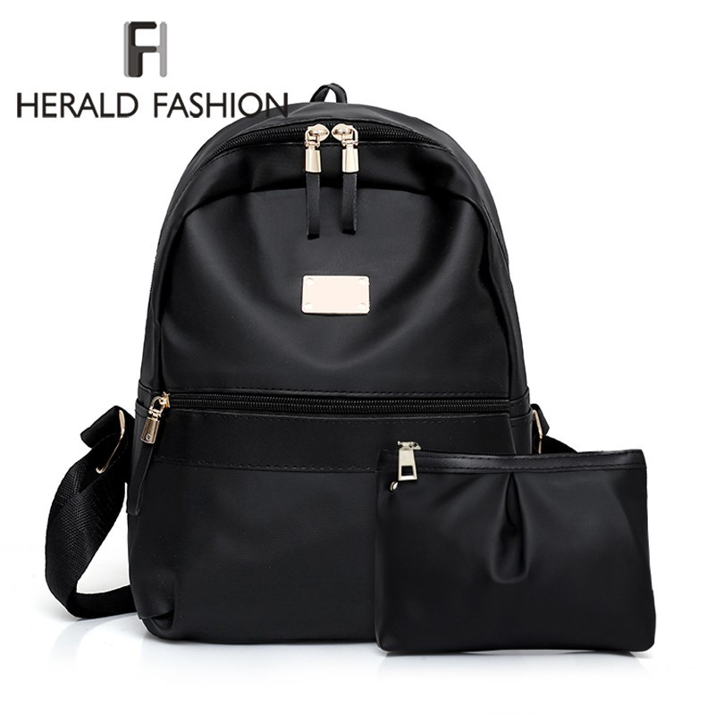 Herald Fashion 2pcs/Set Women Backpack Girls Solid Quality Nylon Shoulder Mini Backpack Ladies' Composite Bag Mochila Feminina