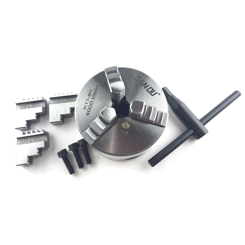 3 Jaw K11-80 Metal Lathe Chuck Manual Chuck Self-centering Lathe Parts with Wrench and 3pcs Screws3 Jaw K11-80 Metal Lathe Chuck Manual Chuck Self-centering Lathe Parts with Wrench and 3pcs Screws