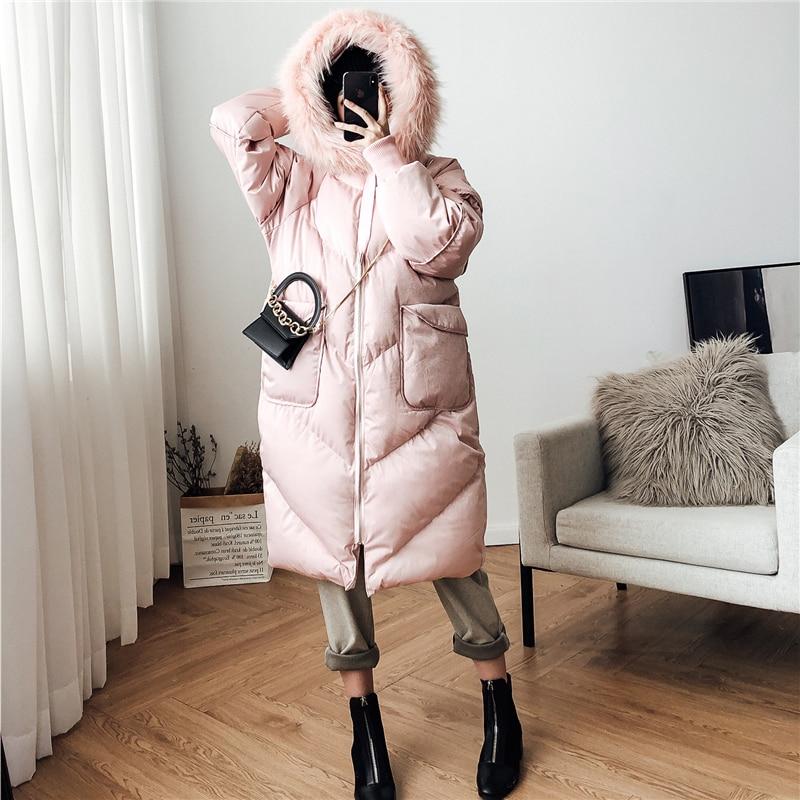 Capuche Wc00605l Blue Fourrure Manches Col pink Poches Mode D'hiver souris Manteau Automne Chauve De Chaud Femmes Lâche Vêtir À Colour Nouvelle Et 2018 UgR7PWq8W